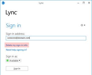 Lync Delete my sign in info